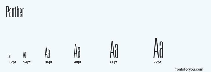 sizes of panther font, panther sizes