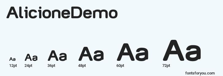 sizes of alicionedemo font, alicionedemo sizes