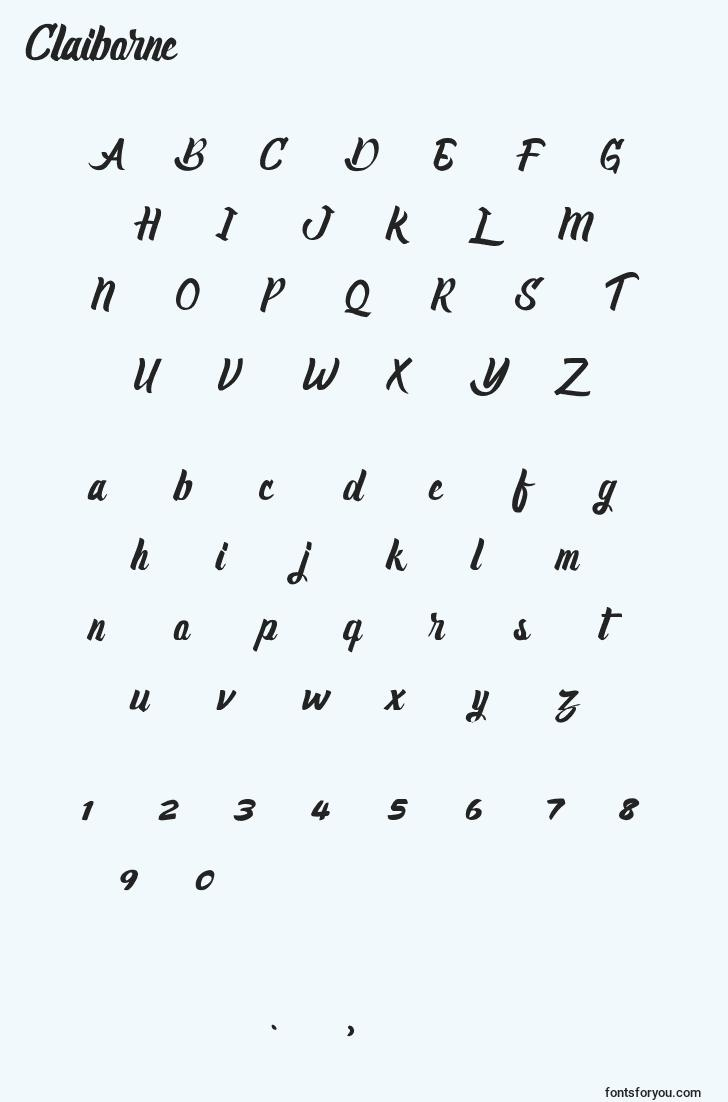 characters of claiborne font, letter of claiborne font, alphabet of  claiborne font