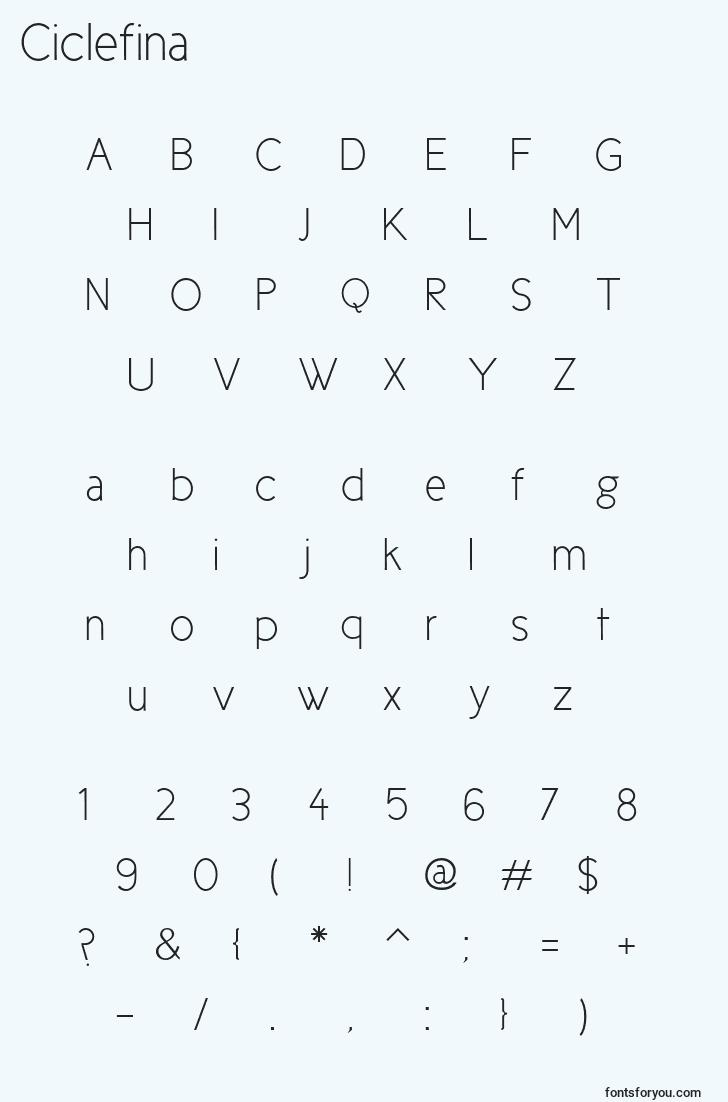 characters of ciclefina font, letter of ciclefina font, alphabet of  ciclefina font