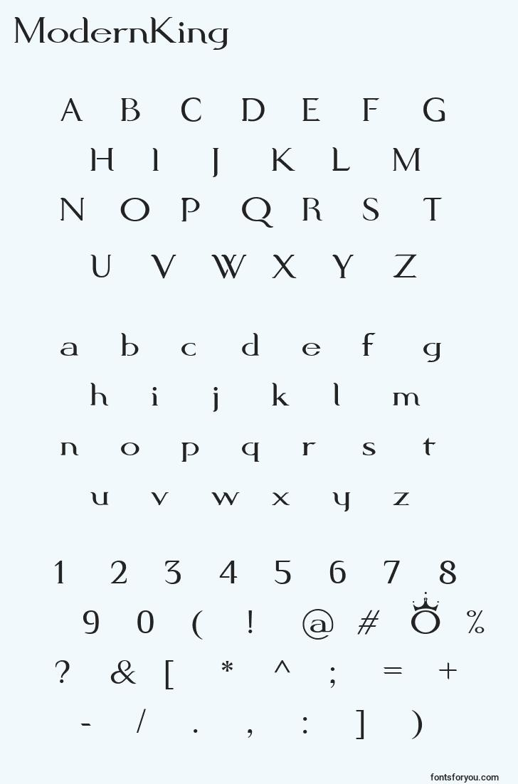 characters of modernking font, letter of modernking font, alphabet of  modernking font