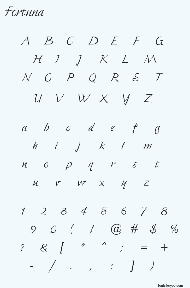 characters of fortuna font, letter of fortuna font, alphabet of  fortuna font