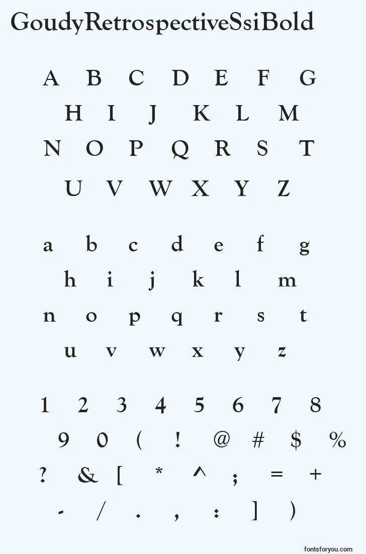 characters of goudyretrospectivessibold font, letter of goudyretrospectivessibold font, alphabet of  goudyretrospectivessibold font
