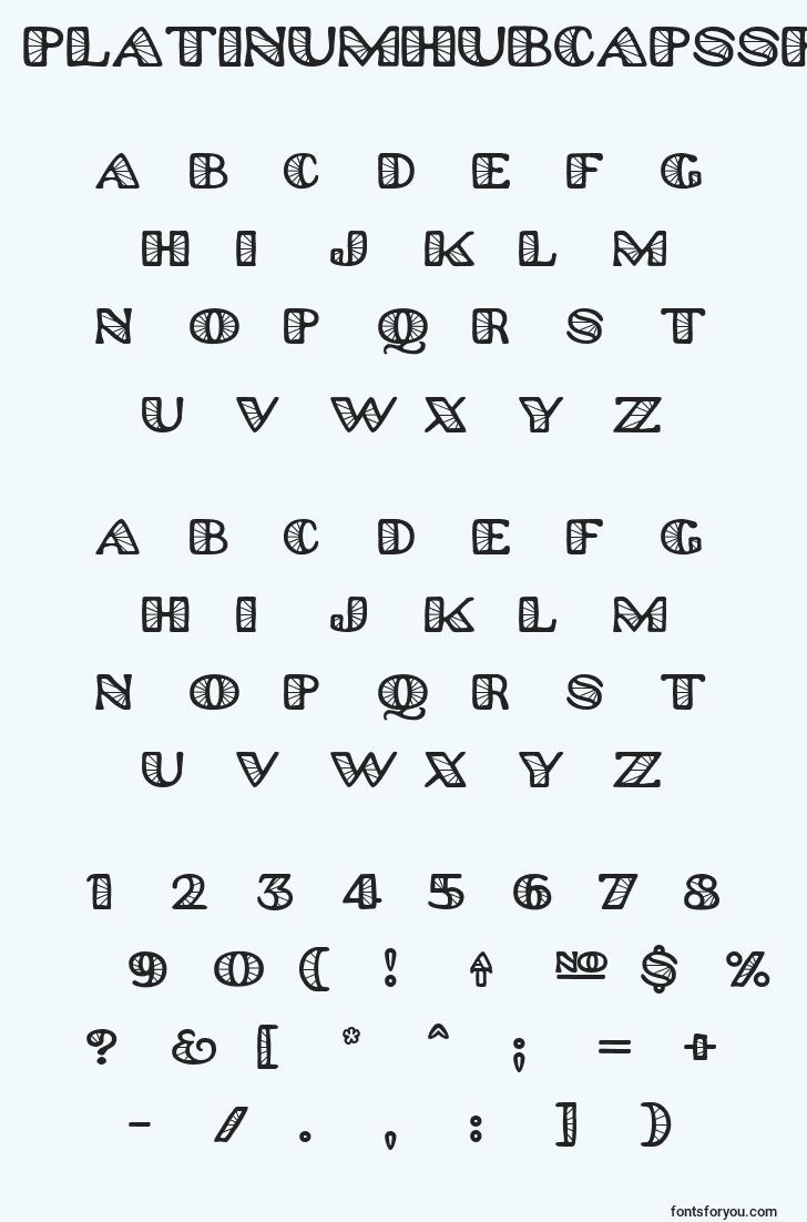 characters of platinumhubcapsspoked font, letter of platinumhubcapsspoked font, alphabet of  platinumhubcapsspoked font