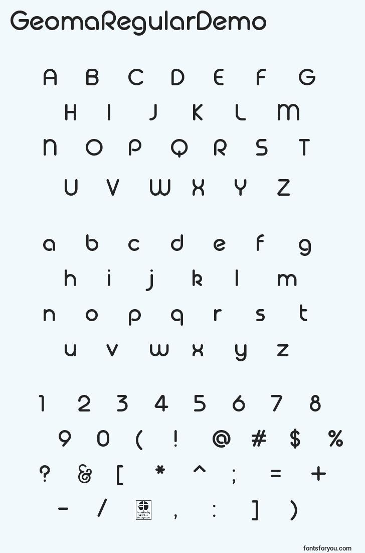 characters of geomaregulardemo font, letter of geomaregulardemo font, alphabet of  geomaregulardemo font