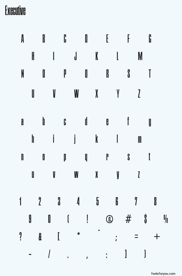 characters of executive font, letter of executive font, alphabet of  executive font