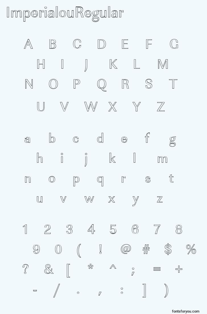 characters of imperialouregular font, letter of imperialouregular font, alphabet of  imperialouregular font