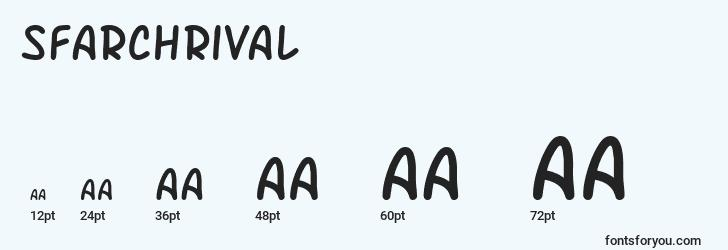 sizes of sfarchrival font, sfarchrival sizes