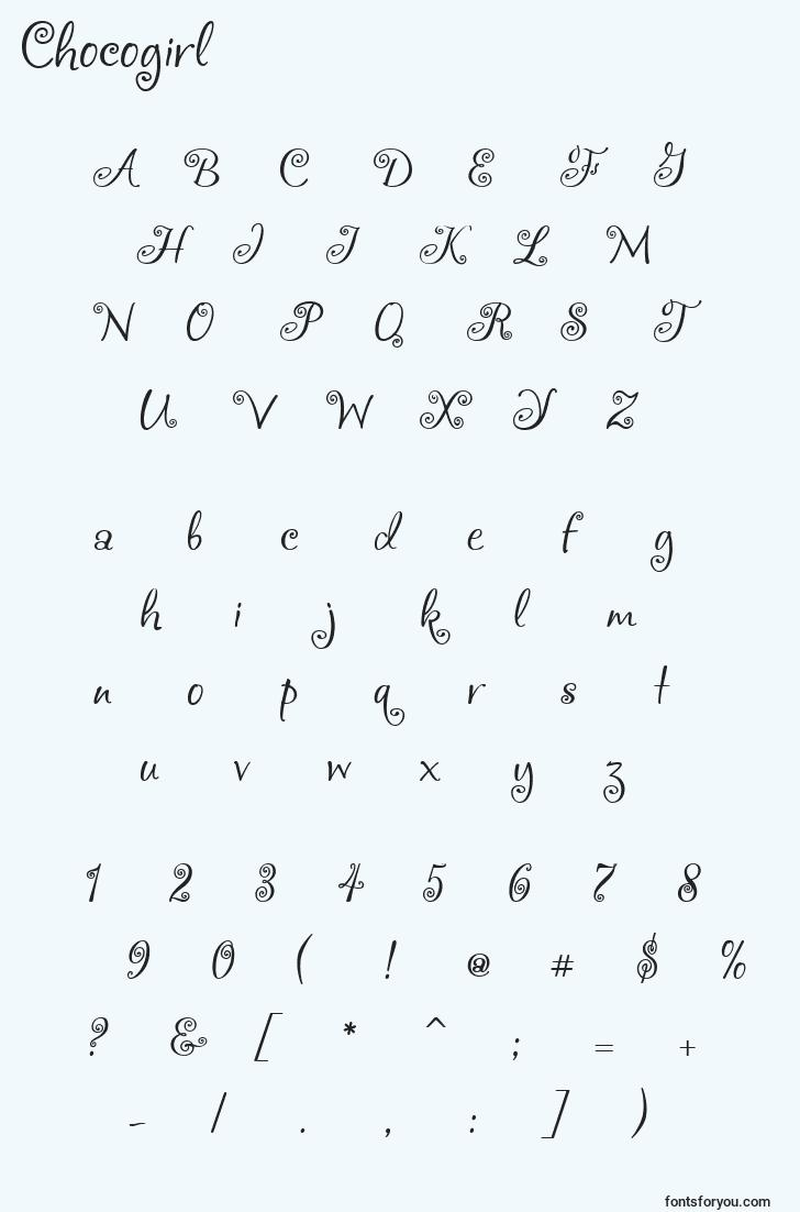 characters of chocogirl font, letter of chocogirl font, alphabet of  chocogirl font