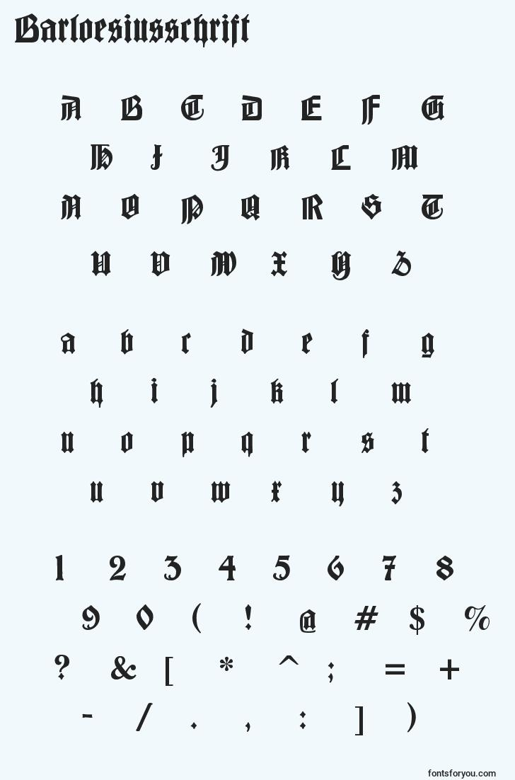 characters of barloesiusschrift font, letter of barloesiusschrift font, alphabet of  barloesiusschrift font