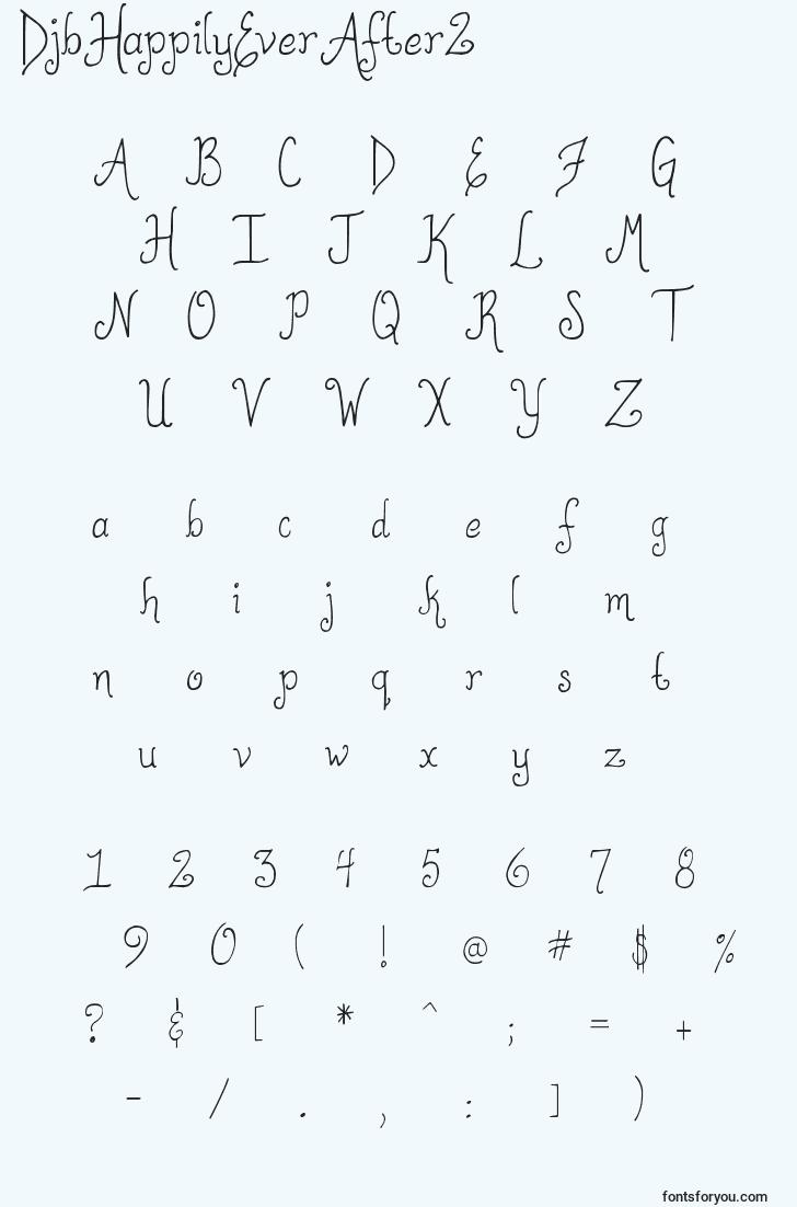 characters of djbhappilyeverafter2 font, letter of djbhappilyeverafter2 font, alphabet of  djbhappilyeverafter2 font