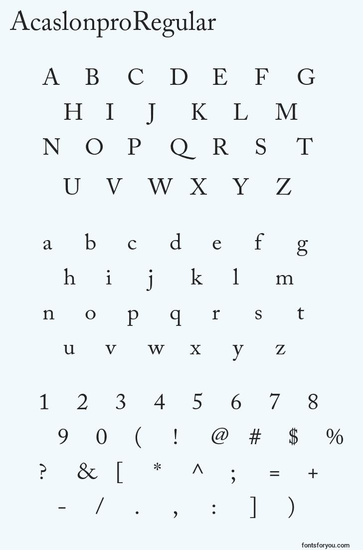 characters of acaslonproregular font, letter of acaslonproregular font, alphabet of  acaslonproregular font
