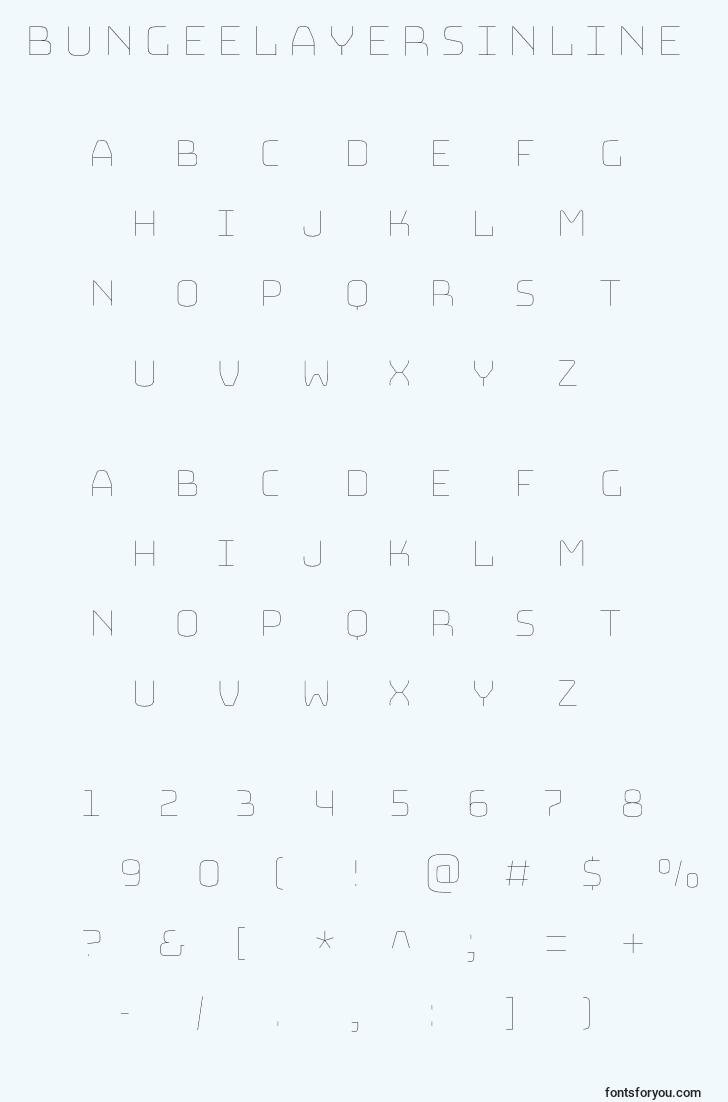 characters of bungeelayersinline font, letter of bungeelayersinline font, alphabet of  bungeelayersinline font