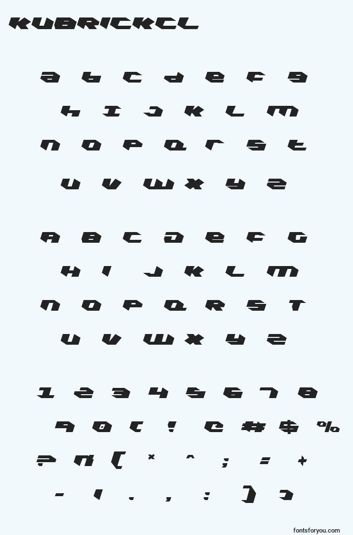 characters of kubrickcl font, letter of kubrickcl font, alphabet of  kubrickcl font