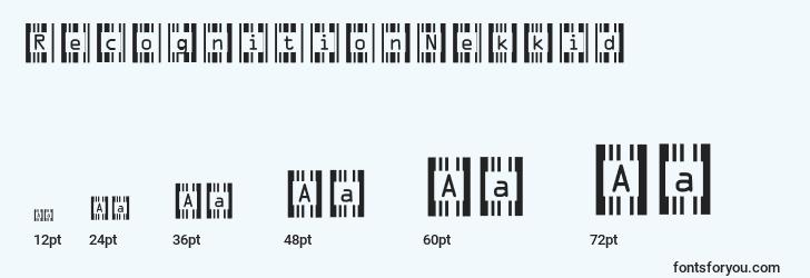 sizes of recognitionnekkid font, recognitionnekkid sizes