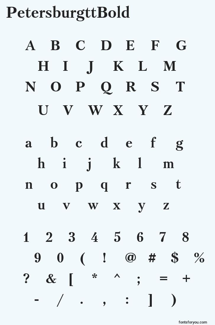 characters of petersburgttbold font, letter of petersburgttbold font, alphabet of  petersburgttbold font
