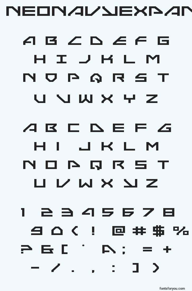 characters of neonavyexpand font, letter of neonavyexpand font, alphabet of  neonavyexpand font