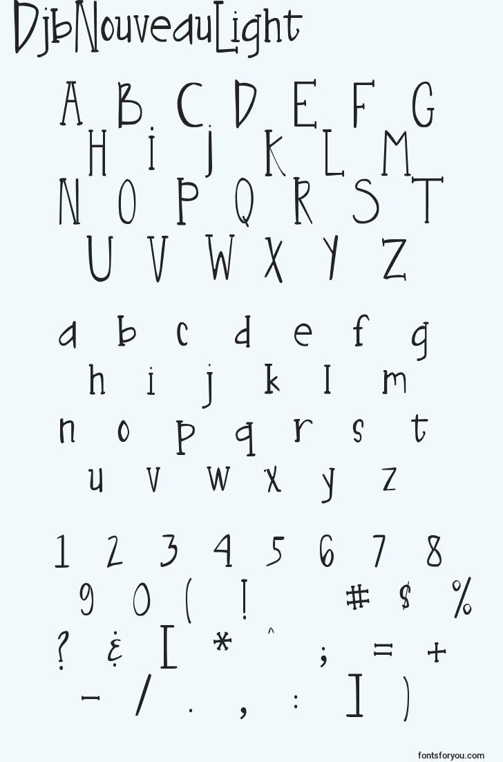 characters of djbnouveaulight font, letter of djbnouveaulight font, alphabet of  djbnouveaulight font