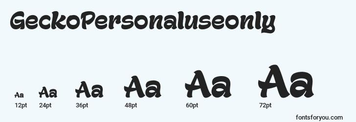 sizes of geckopersonaluseonly font, geckopersonaluseonly sizes