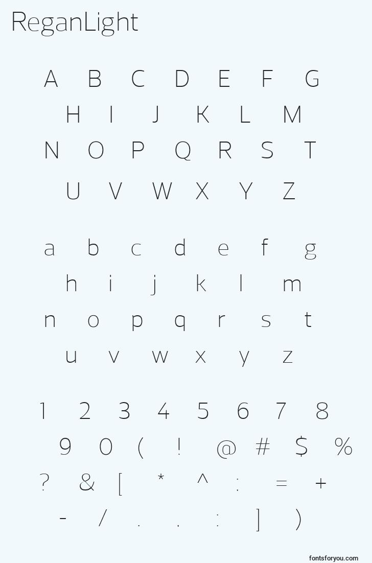 characters of reganlight font, letter of reganlight font, alphabet of  reganlight font