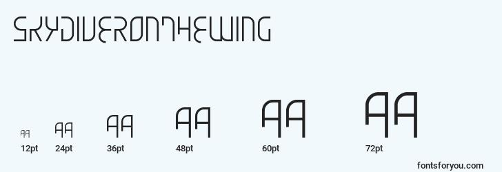 sizes of skydiveronthewing font, skydiveronthewing sizes