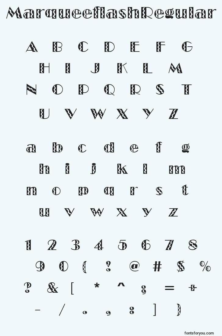 characters of marqueeflashregular font, letter of marqueeflashregular font, alphabet of  marqueeflashregular font
