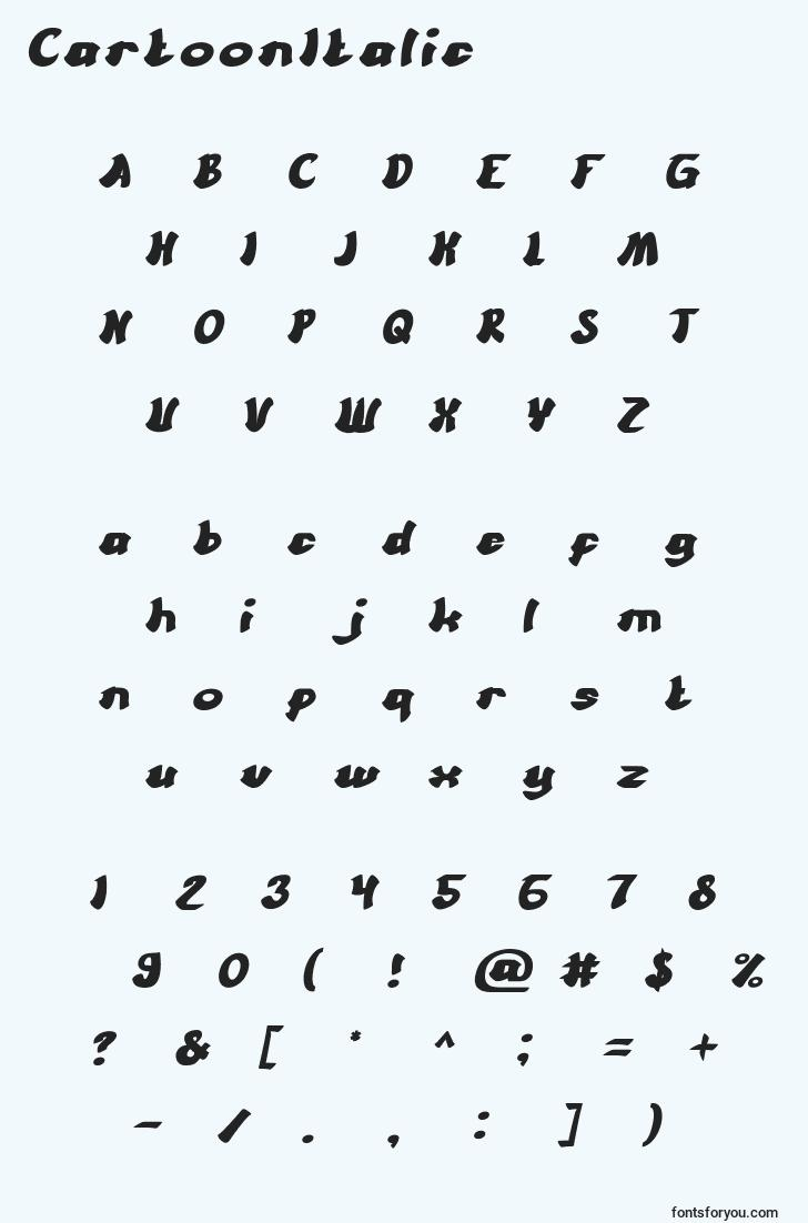 characters of cartoonitalic font, letter of cartoonitalic font, alphabet of  cartoonitalic font