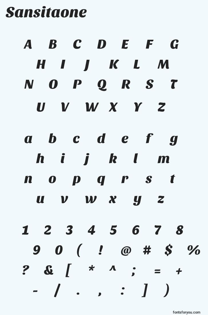 characters of sansitaone font, letter of sansitaone font, alphabet of  sansitaone font