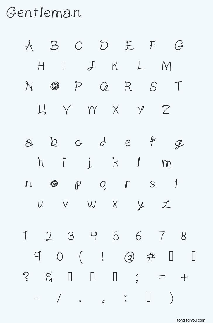 characters of gentleman font, letter of gentleman font, alphabet of  gentleman font