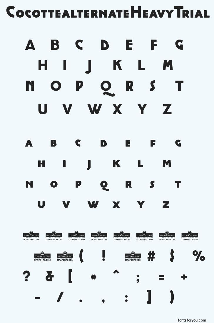 characters of cocottealternateheavytrial font, letter of cocottealternateheavytrial font, alphabet of  cocottealternateheavytrial font