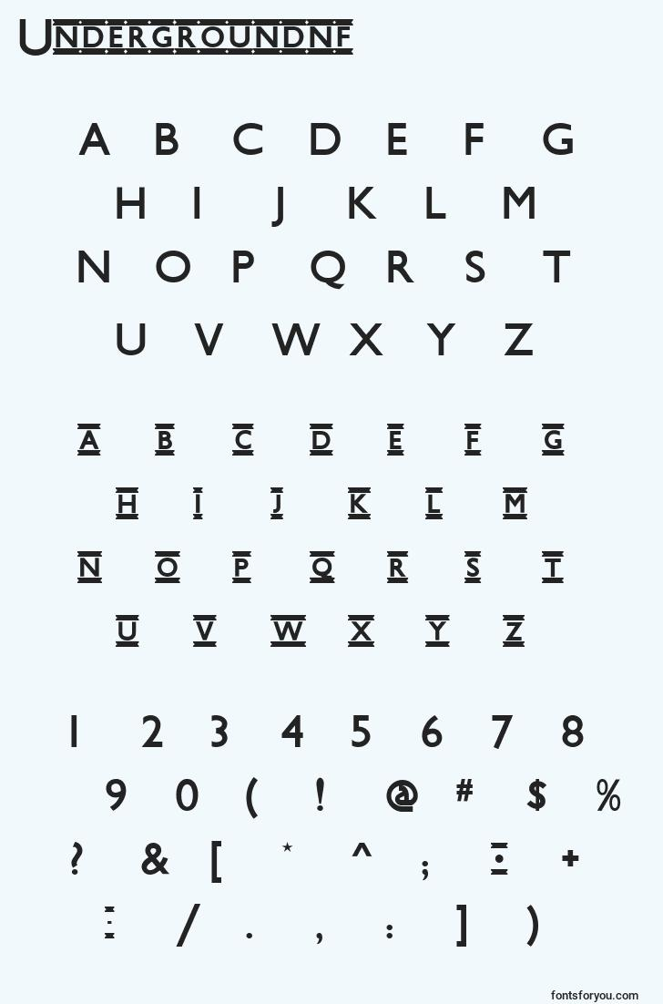 characters of undergroundnf font, letter of undergroundnf font, alphabet of  undergroundnf font