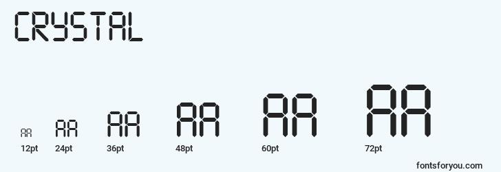 sizes of crystal font, crystal sizes