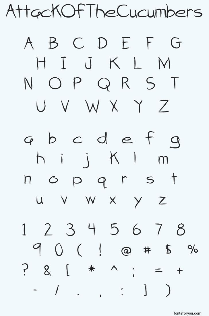 characters of attackofthecucumbers font, letter of attackofthecucumbers font, alphabet of  attackofthecucumbers font