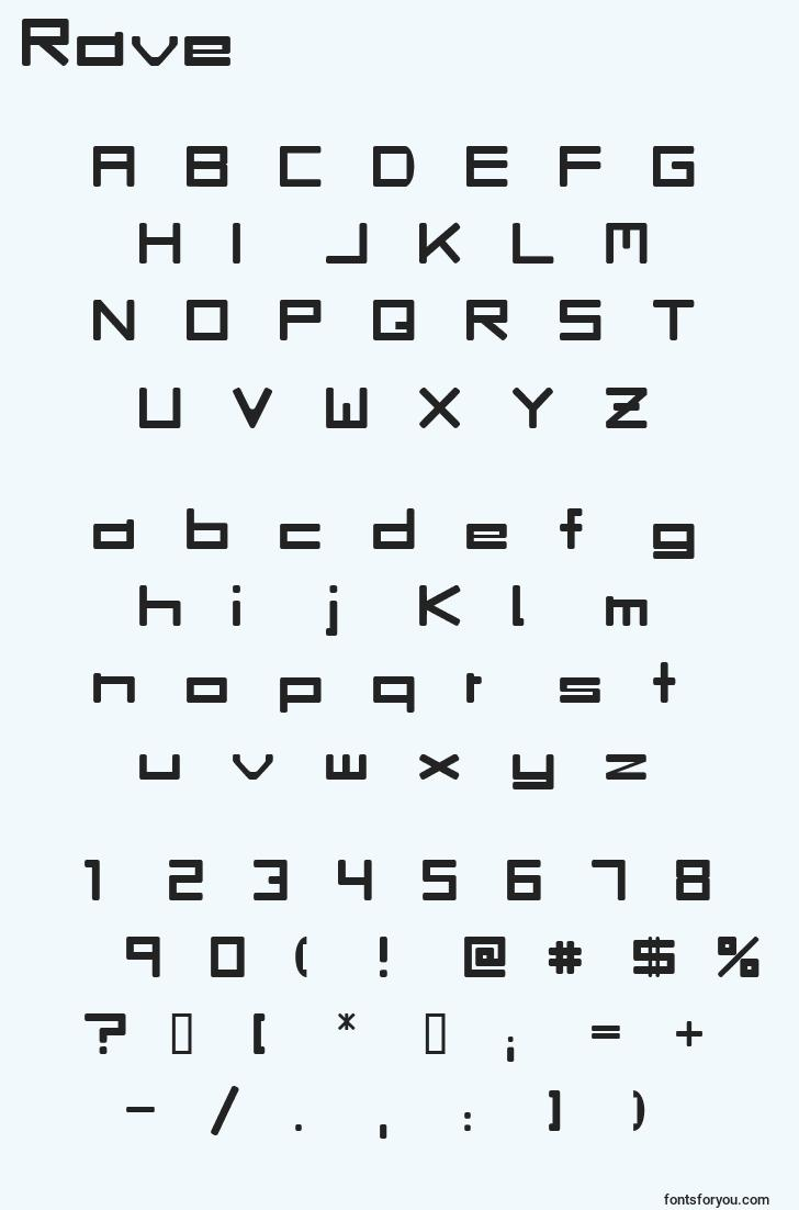 characters of rave font, letter of rave font, alphabet of  rave font