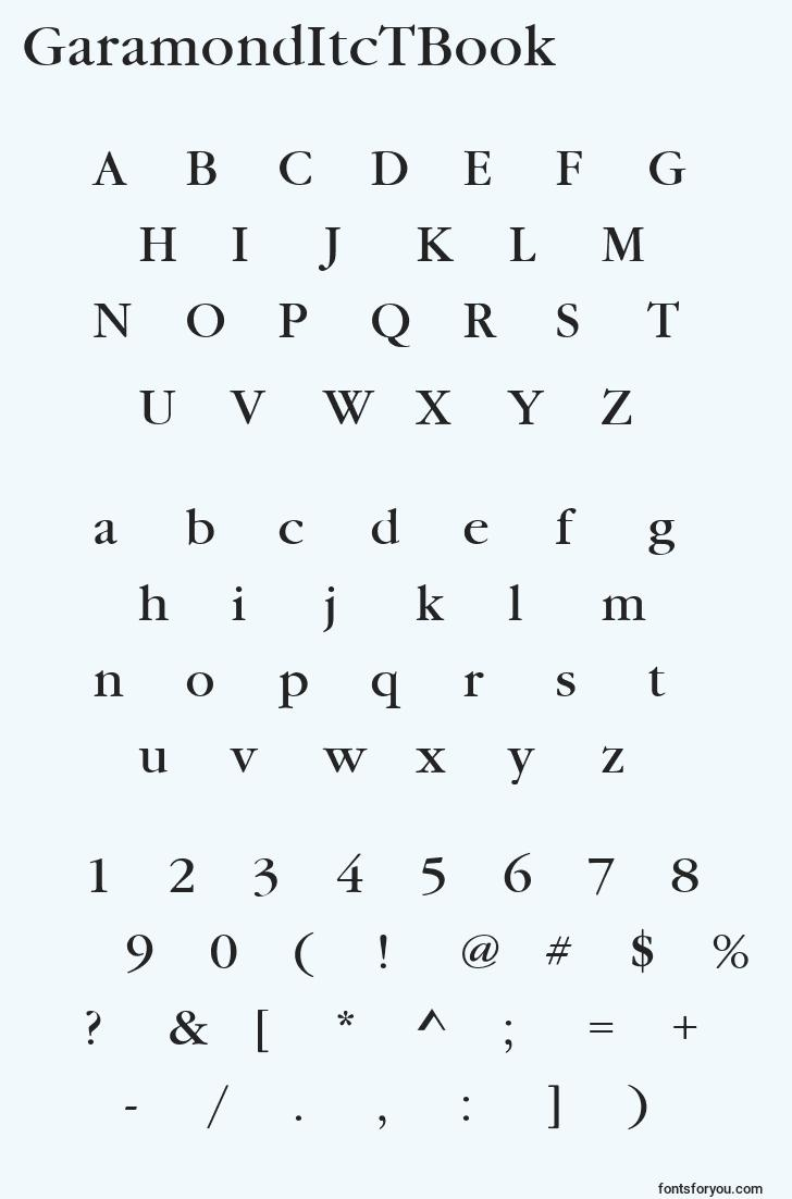 characters of garamonditctbook font, letter of garamonditctbook font, alphabet of  garamonditctbook font