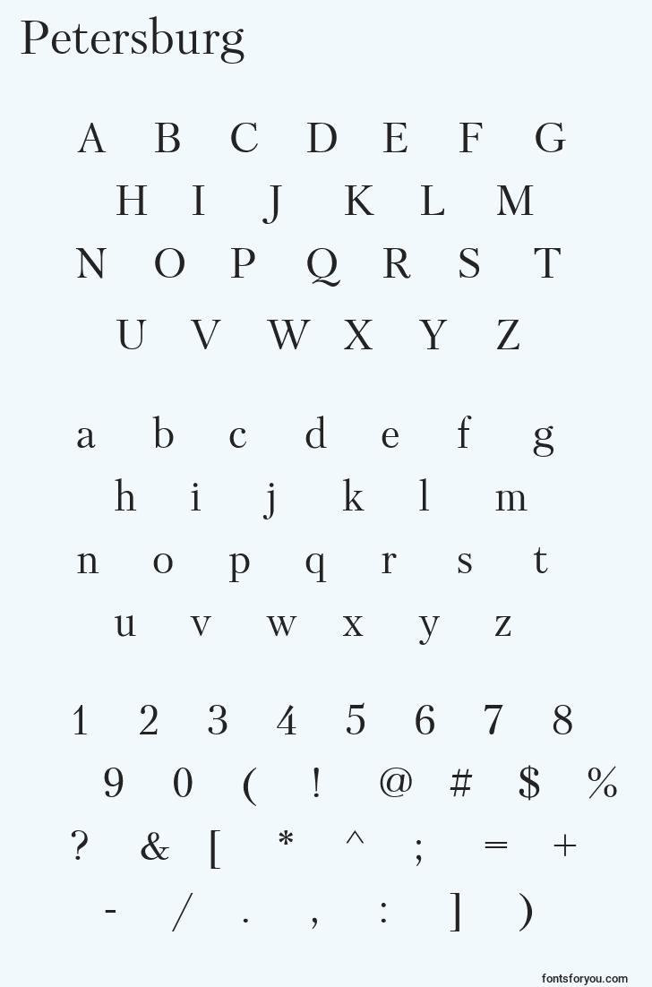 characters of petersburg font, letter of petersburg font, alphabet of  petersburg font