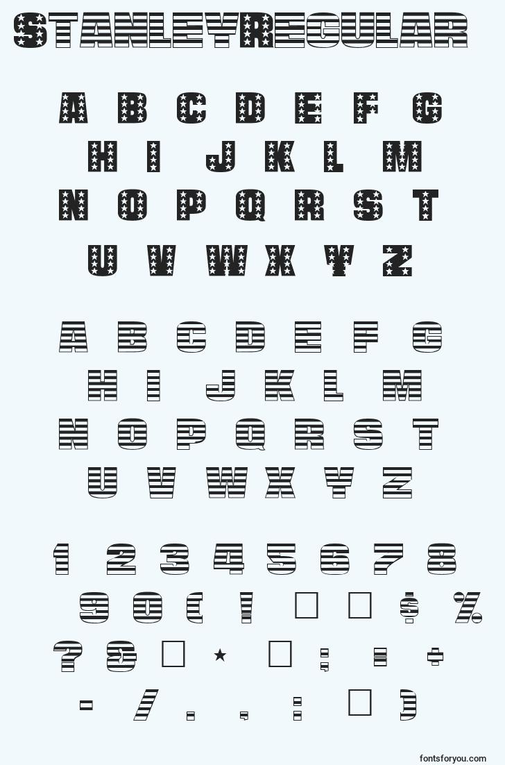 characters of stanleyregular font, letter of stanleyregular font, alphabet of  stanleyregular font