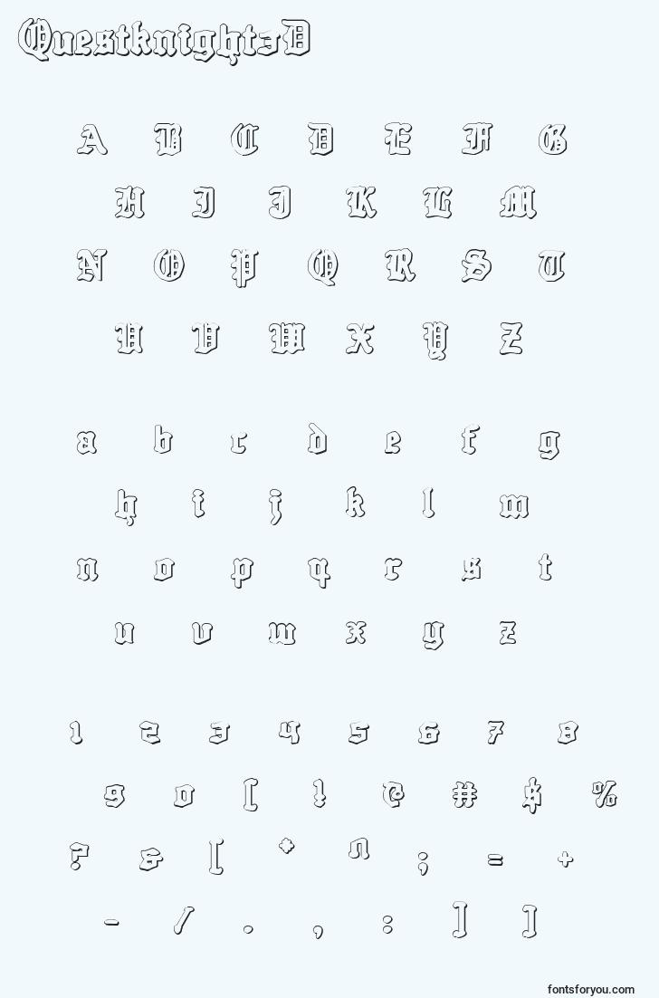 characters of questknight3d font, letter of questknight3d font, alphabet of  questknight3d font