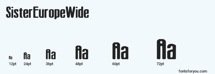 sizes of sistereuropewide font, sistereuropewide sizes