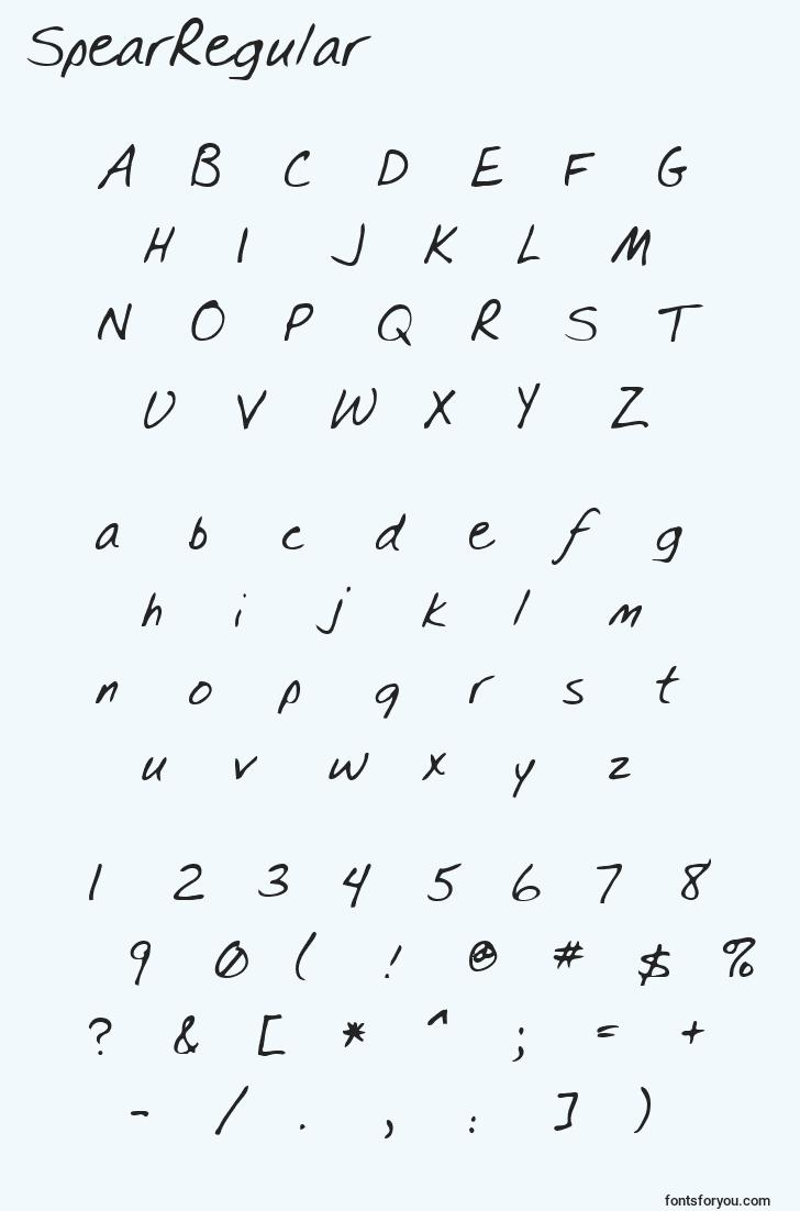 characters of spearregular font, letter of spearregular font, alphabet of  spearregular font