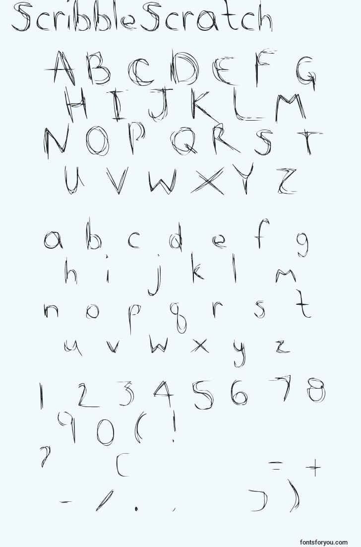 characters of scribblescratch font, letter of scribblescratch font, alphabet of  scribblescratch font