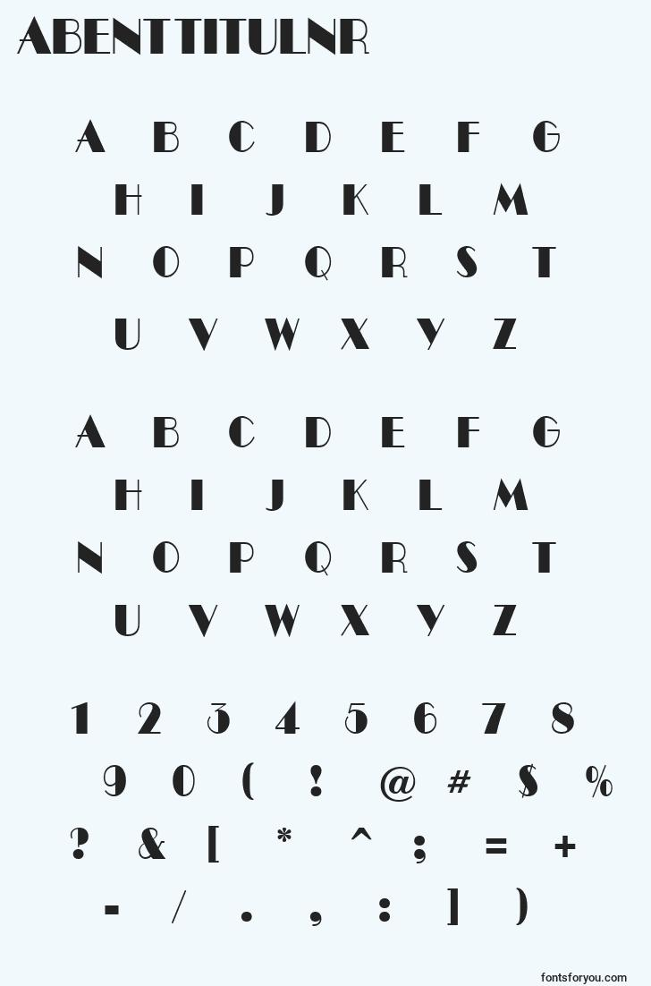 characters of abenttitulnr font, letter of abenttitulnr font, alphabet of  abenttitulnr font