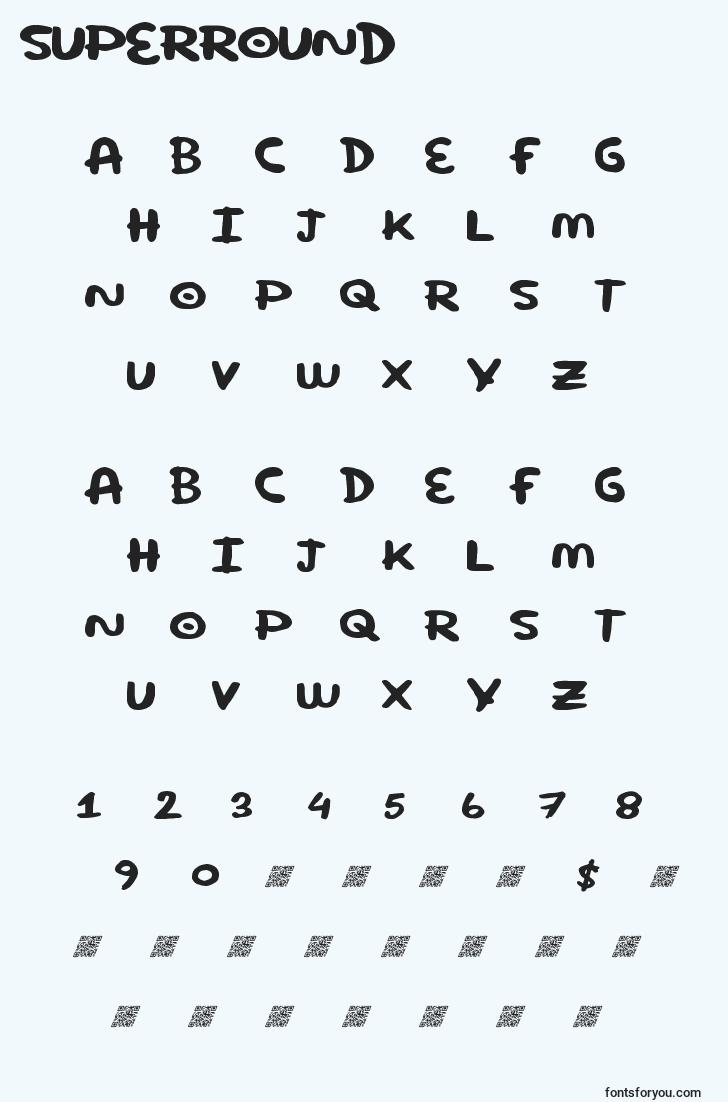 characters of superround font, letter of superround font, alphabet of  superround font
