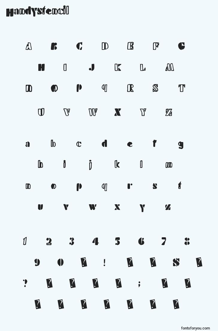 characters of handystencil font, letter of handystencil font, alphabet of  handystencil font