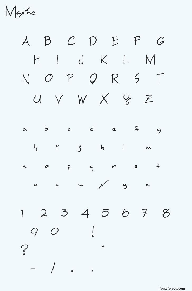 characters of maxine font, letter of maxine font, alphabet of  maxine font
