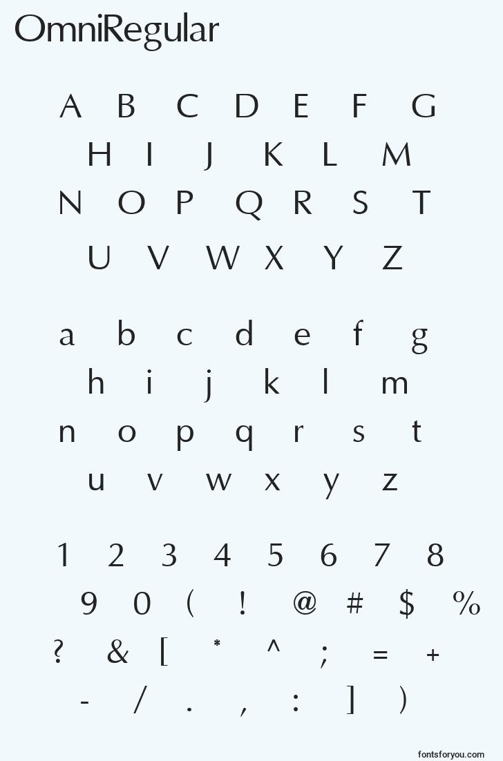 characters of omniregular font, letter of omniregular font, alphabet of  omniregular font