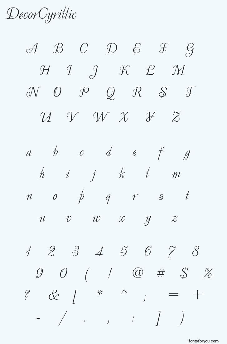 characters of decorcyrillic font, letter of decorcyrillic font, alphabet of  decorcyrillic font