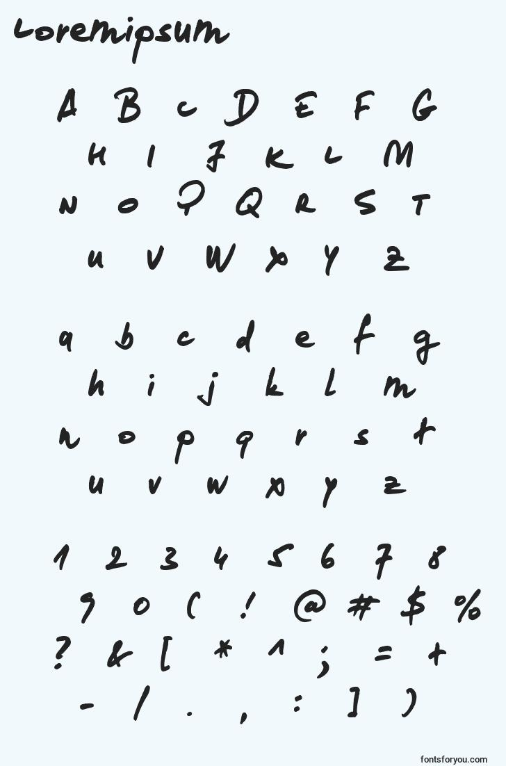 characters of loremipsum font, letter of loremipsum font, alphabet of  loremipsum font