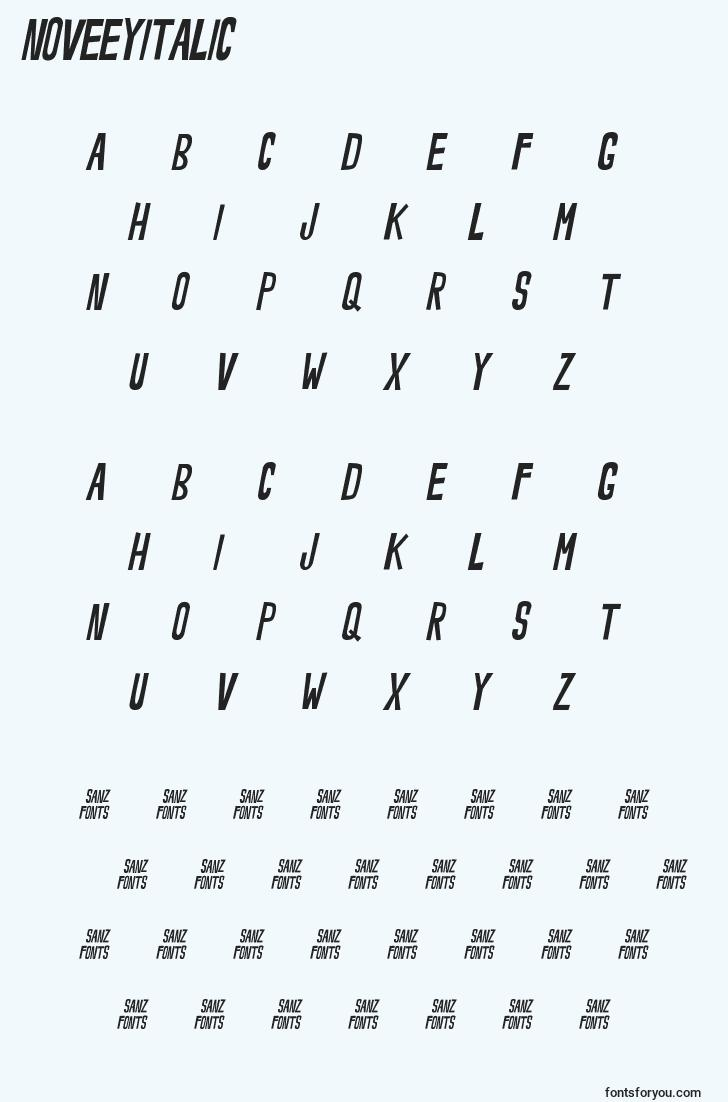 characters of noveeyitalic font, letter of noveeyitalic font, alphabet of  noveeyitalic font