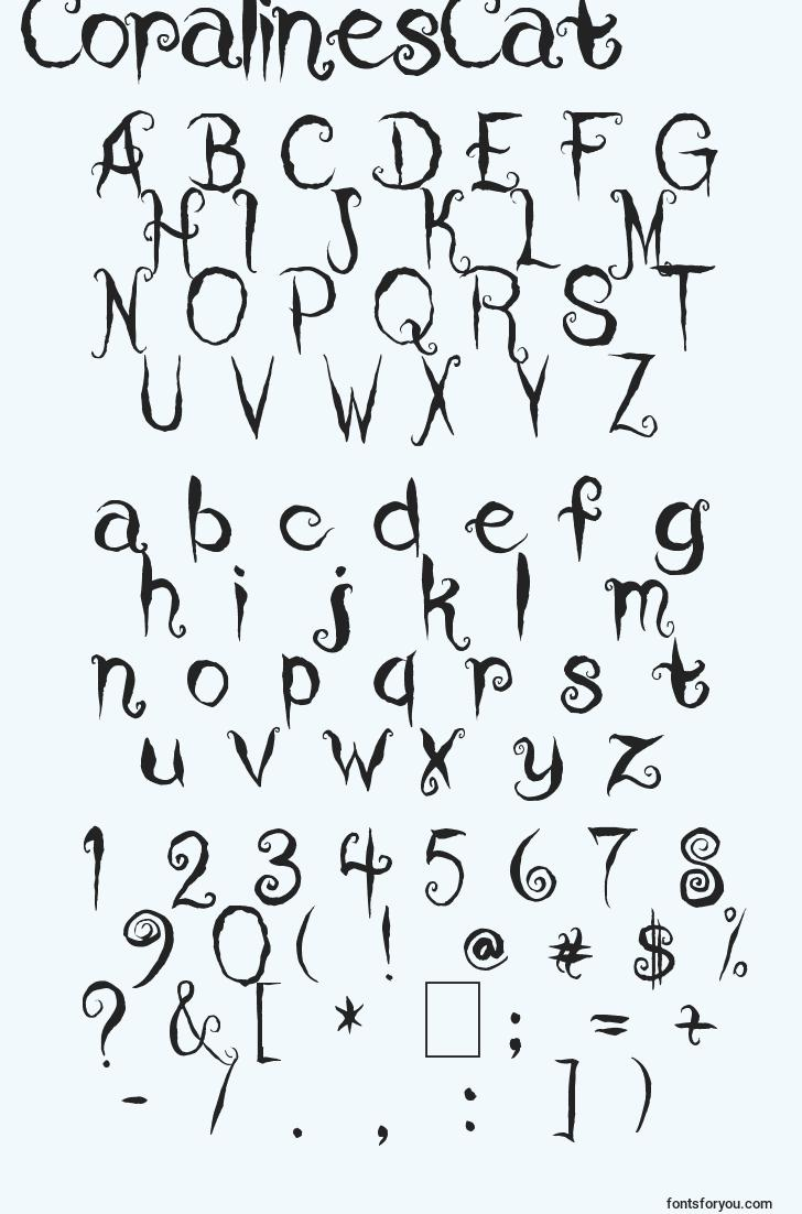 characters of coralinescat font, letter of coralinescat font, alphabet of  coralinescat font